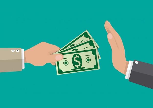 Empresário, dando dinheiro à mão. anti corrupção