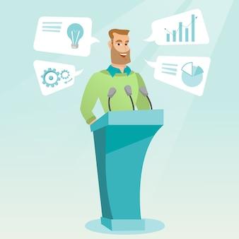 Empresário dando discurso no seminário de negócios.