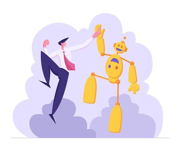 Empresário dando mais cinco para a ilustração do robô