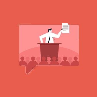 Empresário dando um discurso poderoso para sua equipe