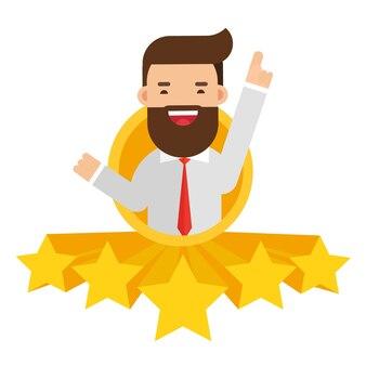 Empresário dar um cinco estrelas para classificação