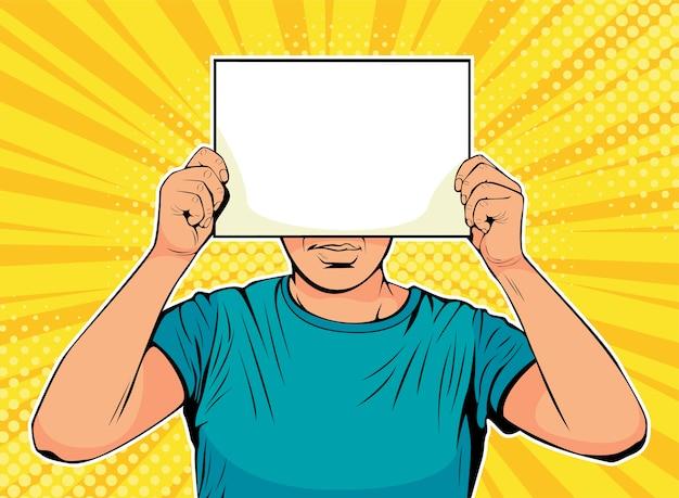 Empresário de arte pop com papel em branco na frente do rosto