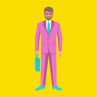 Empresário de arte pop. homem elegante em um elegante terno rosa. jovem humano de óculos. ilustração