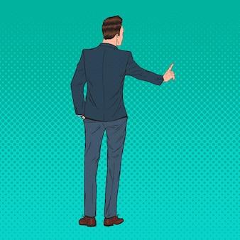 Empresário de arte pop pressionando um botão virtual imaginário