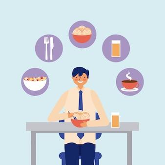 Empresário de atividade diária almoçando