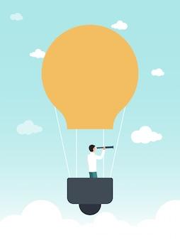 Empresário de balão com ilustração de luneta.