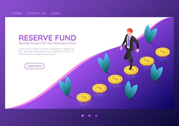 Empresário de banner 3d isométrico da web andando sobre as moedas que flutuam acima do chão. fundo de reserva e conceito de página de destino financeira.