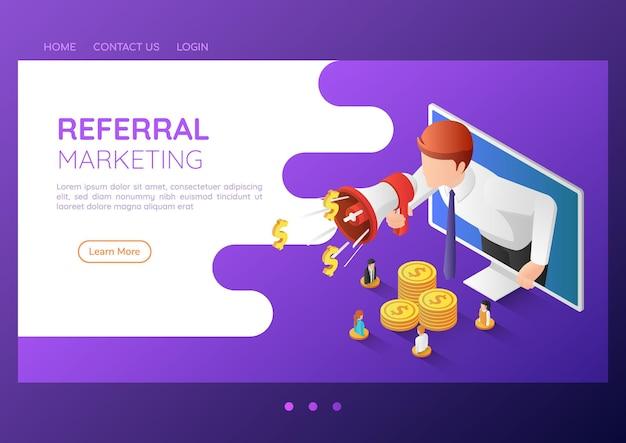 Empresário de banner 3d isométrico da web sai do monitor e grita através do megafone. marketing de referência e conceito de página de destino de publicidade de negócios digitais.