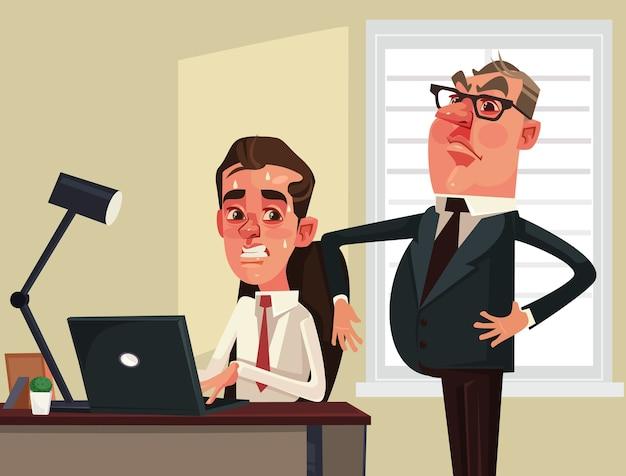 Empresário de chefe estrito assistindo o personagem de trabalhador de escritório de funcionários com medo. ilustração plana dos desenhos animados