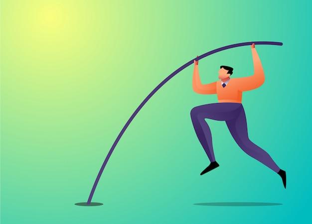 Empresário de conceito de ilustração saltar com salto com vara