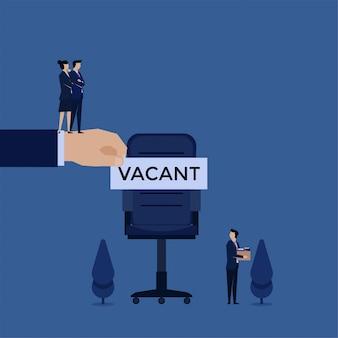 Empresário de conceito de vetor plana de negócios deixar a cadeira e gerente colocar texto vago nele metáfora de fogo e contratar.