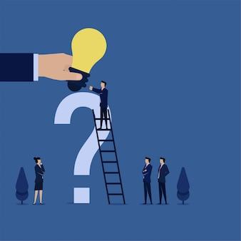 Empresário de conceito de vetor plana de negócios obter idéia