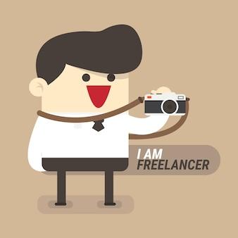 Empresário de conceito freelancer com câmera