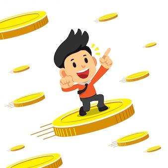 Empresário de desenho animado do conceito de negócio com grandes moedas