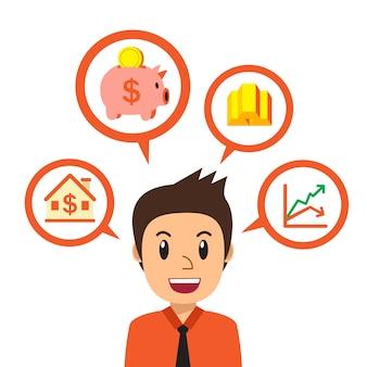 Empresário de desenho animado falando sobre diferentes opções de investimento