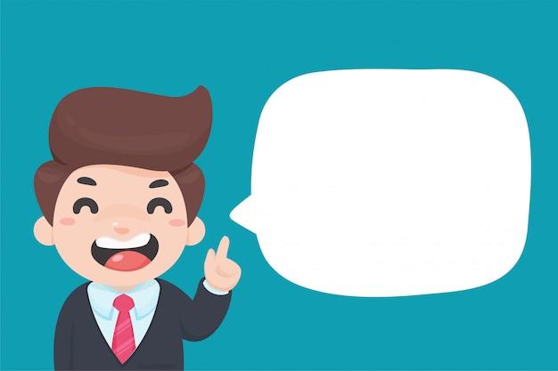 Empresário de desenho animado, segurando o dedo sugerir idéias de negócios com caixas de texto em branco.