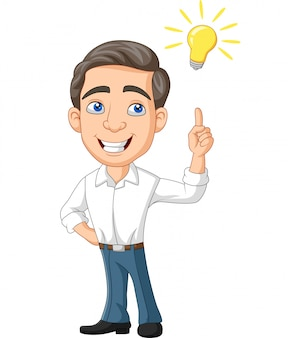 Empresário de desenhos animados com lâmpada de ideia