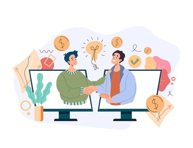Empresário de dois empresários apertando as mãos