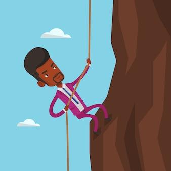 Empresário de escalada na montanha.
