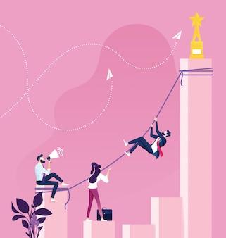 Empresário de escalada para chegar ao topo. conceito de sucesso