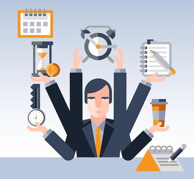 Empresário de gerenciamento de tempo