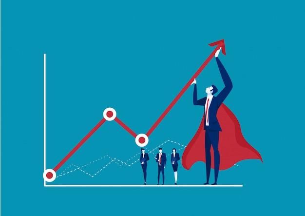 Empresário de herói tentando dobrar uma seta vermelha estatística para cima em fundo azul