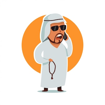 Empresário de homem árabe em óculos de sol. personagem de desenho animado masculino