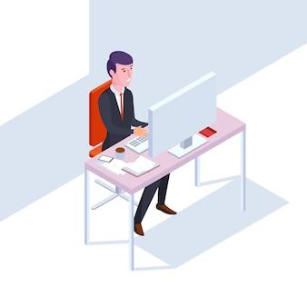 Empresário de isométrica seo no trabalho. ilustração em vetor escritório estilo simples homem, em, trabalho escritório, em, computador