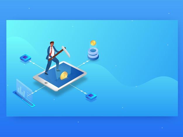 Empresário de mineração criptomoeda na tela do smartphone sobre fundo azul. banner da web ou design de modelo.