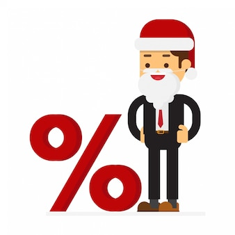Empresário de natal vestida de terno de papai noel e sinal de porcentagem