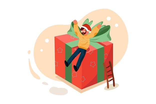 Empresário de óculos com barba, vestido com uma camisola e um chapéu de natal