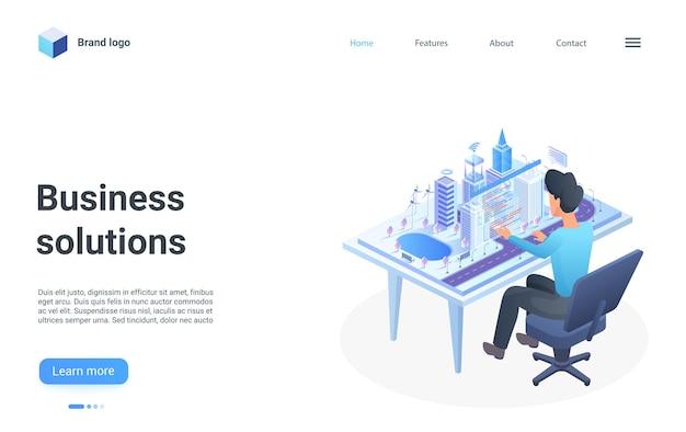 Empresário de página de destino isométrica de solução de negócios sentado em frente à cidade moderna
