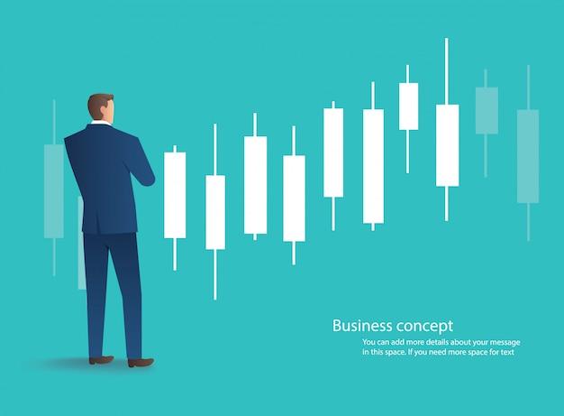 Empresário de pé com fundo de gráfico de castiçal