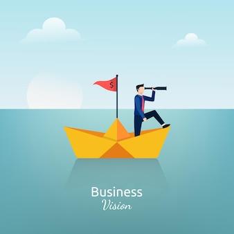 Empresário de pé com o telescópio no símbolo do navio de papel. ilustração da visão de negócios