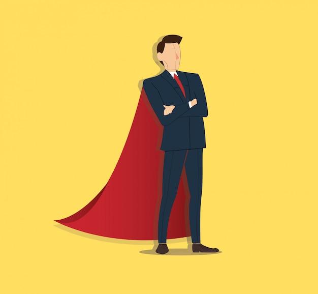 Empresário de pé e capa vermelha