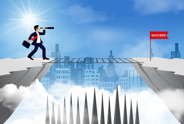 Empresário de pé em um penhasco, olhando com o telescópio em frente à bandeira vermelha