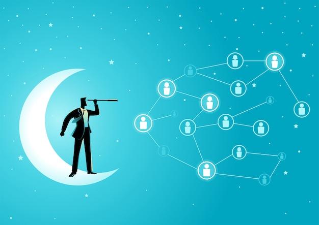 Empresário de pé na lua crescente com telescópio
