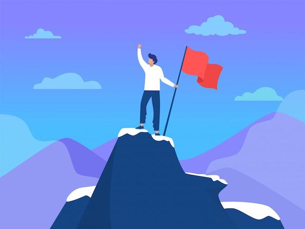 Empresário de pé no topo da montanha com bandeira, liderança de sucesso, ilustração, pessoas atingem objetivo, página inicial, modelo, interface do usuário, web, página inicial, cartaz, banner, panfleto