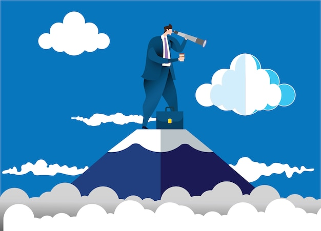 Empresário de pé no topo da montanha