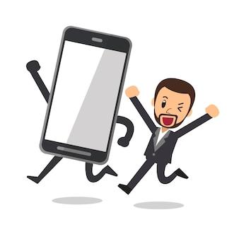 Empresário de personagem de desenho de vetor e grande smartphone