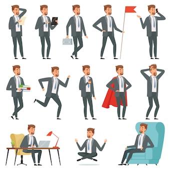 Empresário de personagens. conjunto de empresário em várias poses de ação