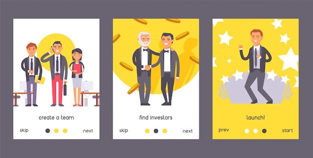 Empresário de pessoas plana conjunto de cartaz. dois homens em ternos pretos formais, apertando as mãos. crie equipe. encontre investidores, lance.