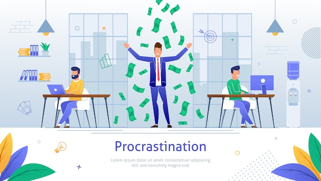 Empresário de procrastinação dos desenhos animados