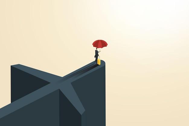 Empresário de seguros de viagens internacionais com bolsa de viagem tenha um guarda-chuva para se proteger durante a viagem