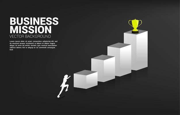 Empresário de silhueta correndo para conseguir o troféu no topo do gráfico. conceito de negócio de objetivo e missão de visão