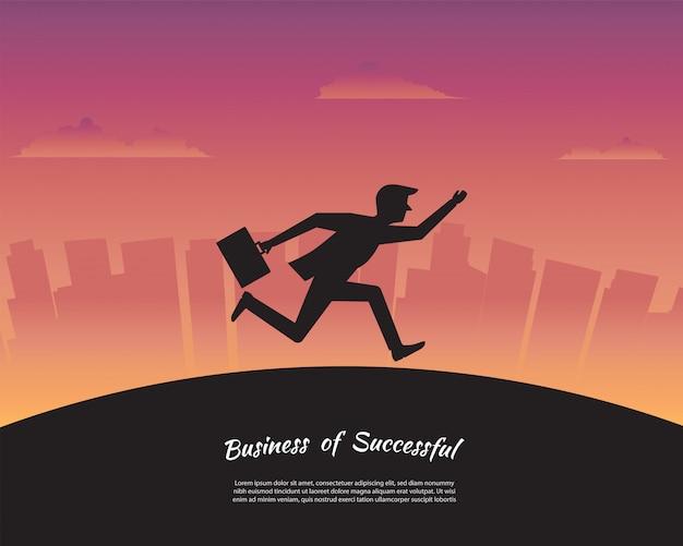 Empresário de silhueta correndo para o objetivo de sucesso