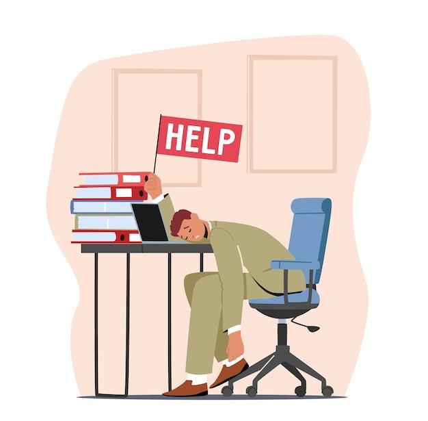 Empresário de sobrecarga cansado deitado na mesa de escritório com a bandeira de ajuda na mão e um monte de documentos. excesso de trabalho, esgotamento