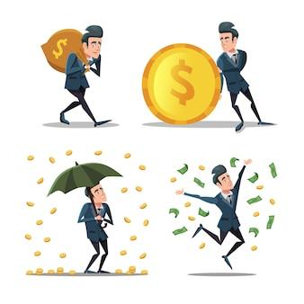 Empresário de sucesso com chuva de dinheiro