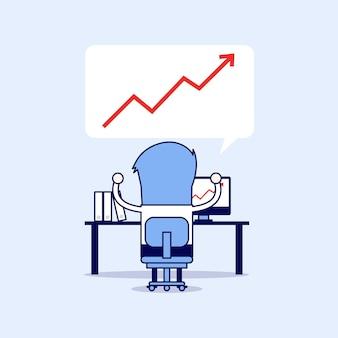 Empresário de sucesso com gráfico de crescimento. vetor de estilo de linha fina de personagem de desenho animado.