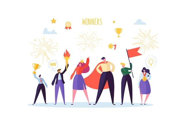 Empresário de sucesso com o prêmio. conceito de trabalho em equipe de sucesso empresarial. gerente com a taça de troféus vencedora líder homem e mulher comemorando a vitória.